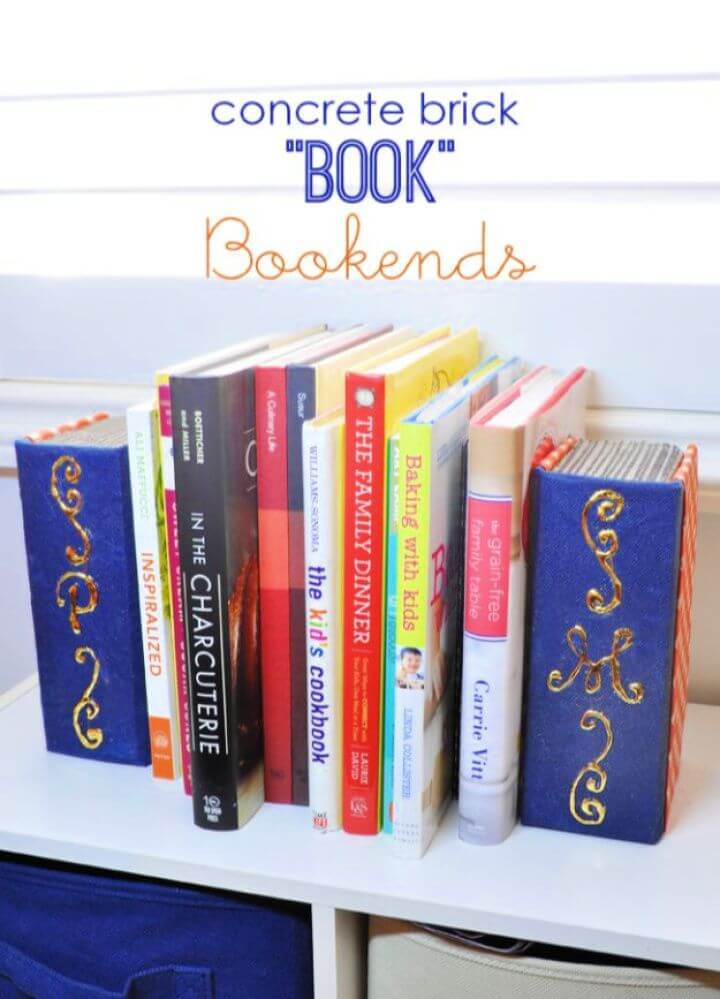"DIY Concrete Brick ""Book"" Bookends"