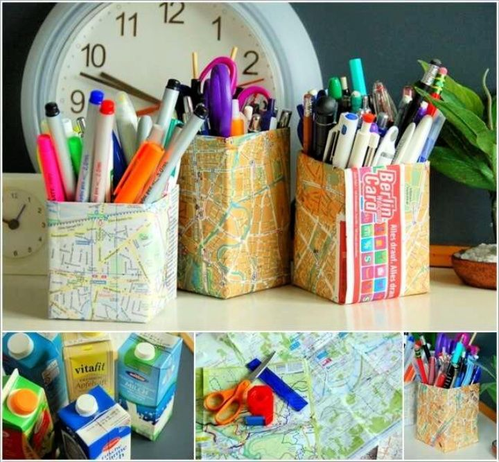 DIY Cute Map Covered Empty Drink Carton Pencil Holders