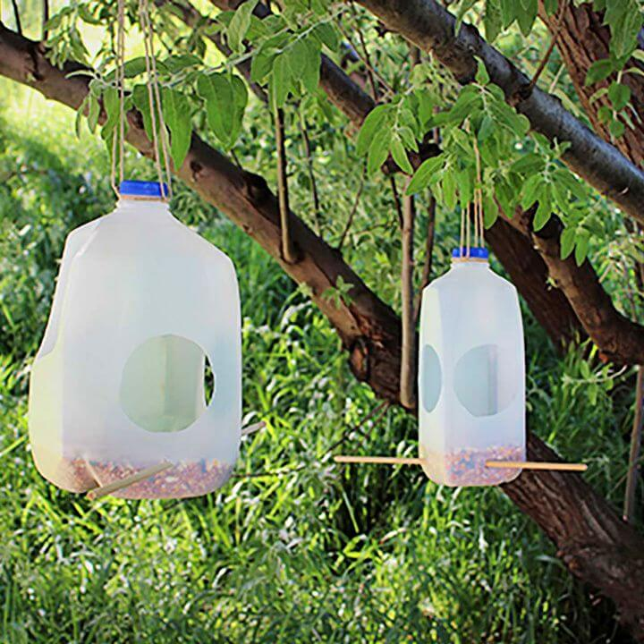 DIY Cute Milk Jug Bird Feeder