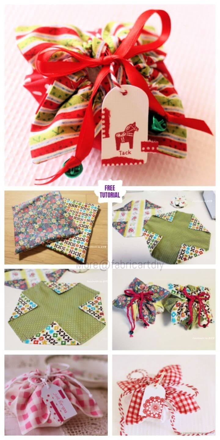DIY Easiest Fabric Gift Pouch Sew Pattern Tutorial