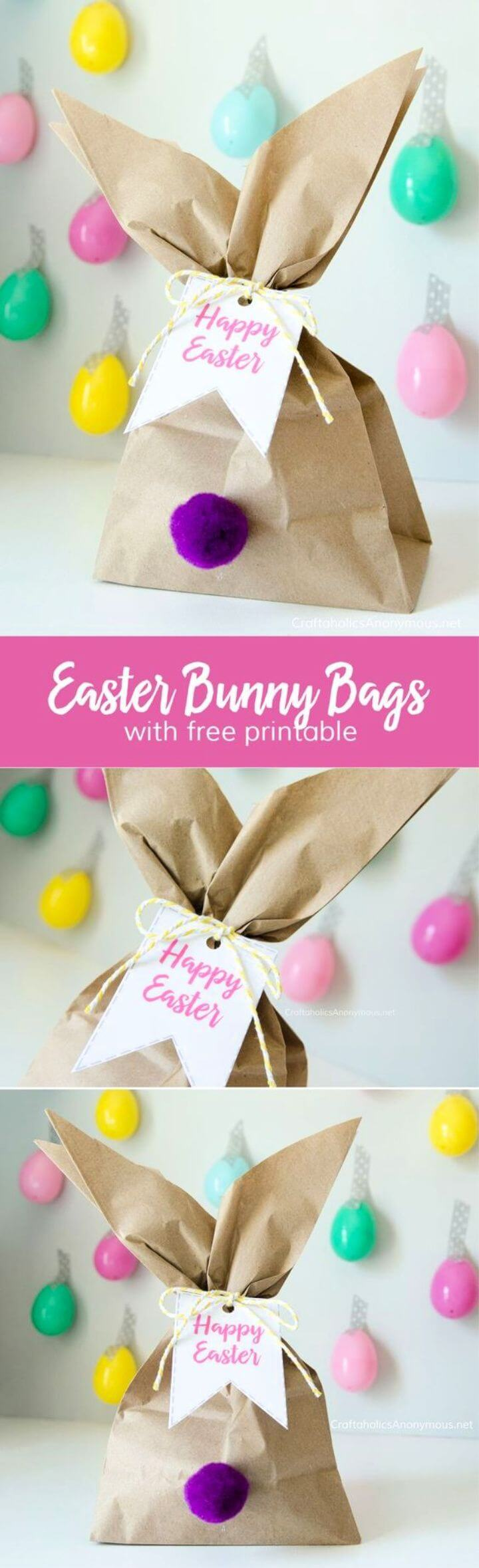 DIY Easter Bunny Gift Bags with Free Printable Tags