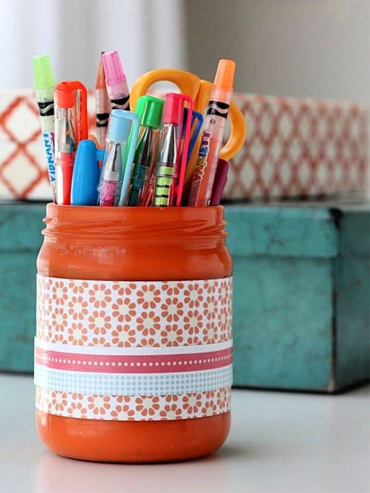 DIY Easy To Make Pencil Cup Made From A Recycled Jar