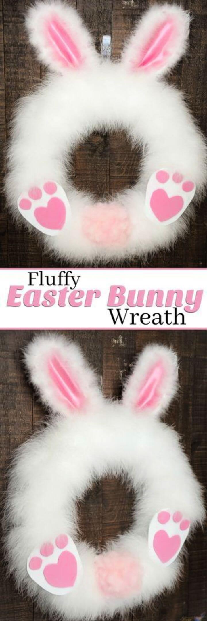 DIY Fluffy Easter Bunny Wreath in under 30 minutes
