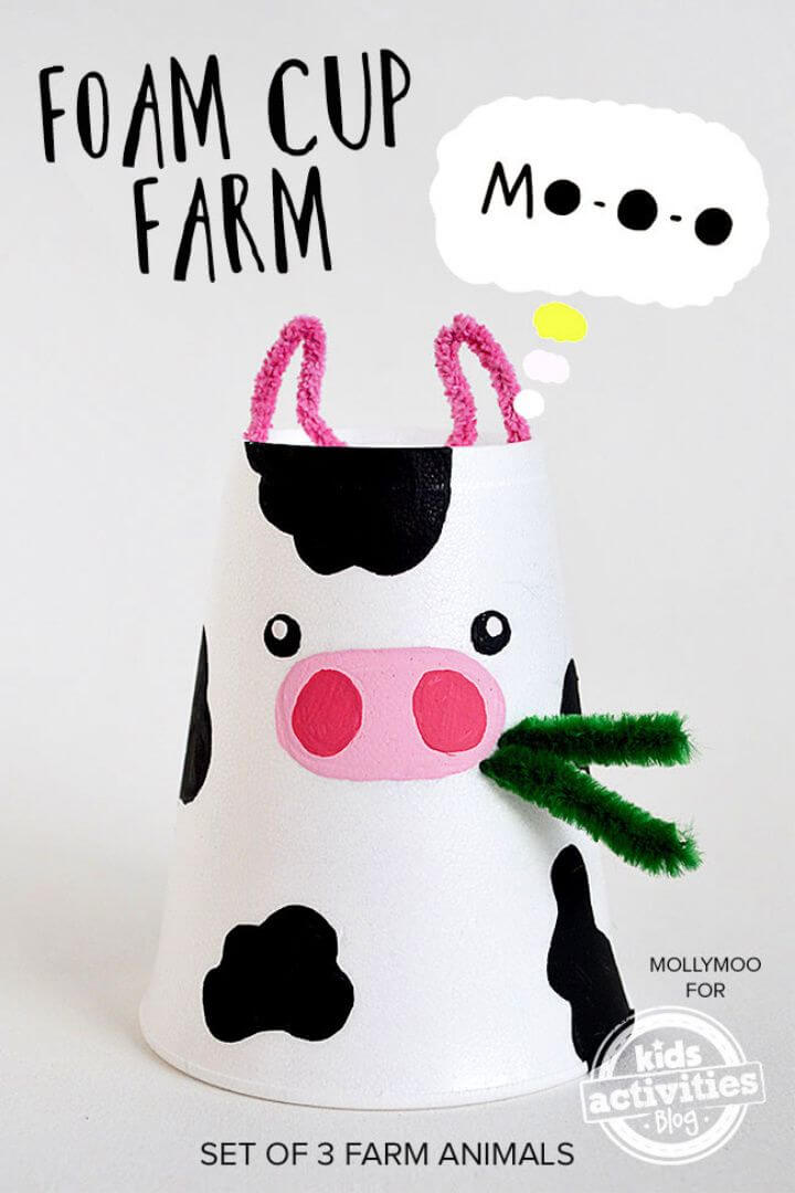 DIY Foam Cup Crafts Cow Pig Chick