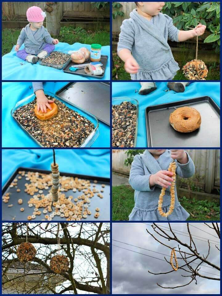 DIY Kid Made Bird Feeders