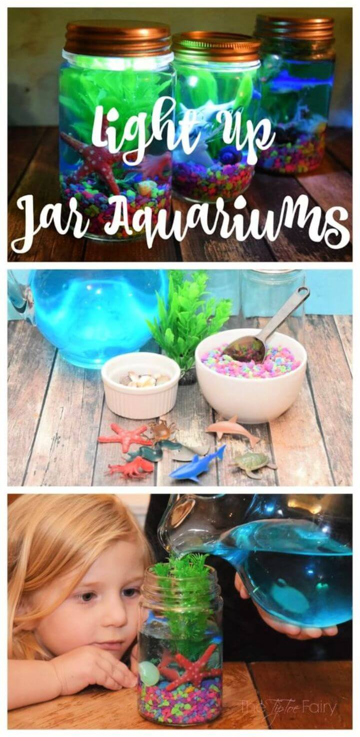 DIY Light Up Mason Jar Aquariums