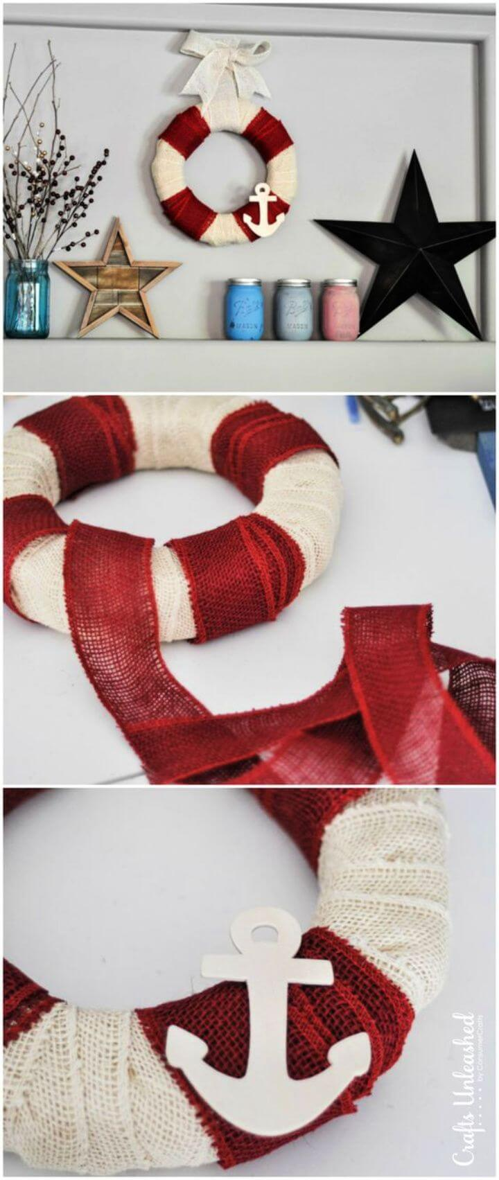 DIY Nautical DIY Burlap Wreath in 5 Minutes