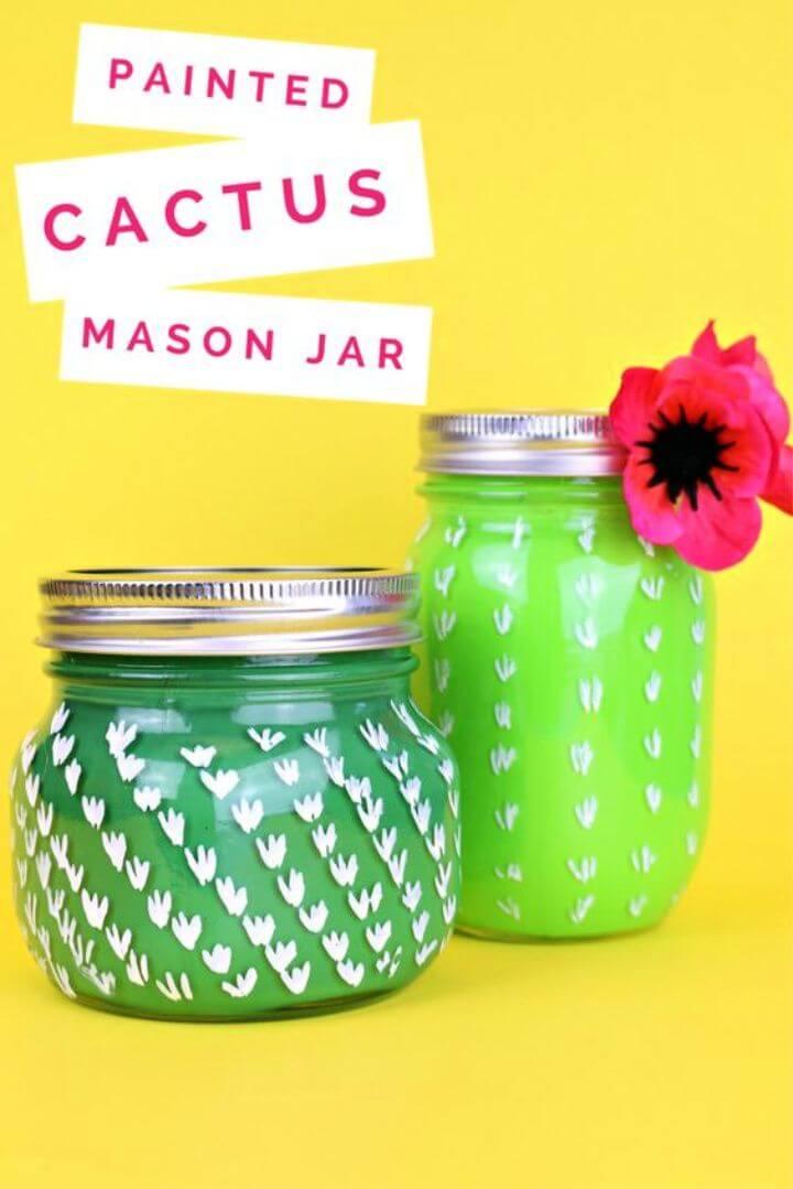 DIY Painted Cactus Mason Jar Crafts