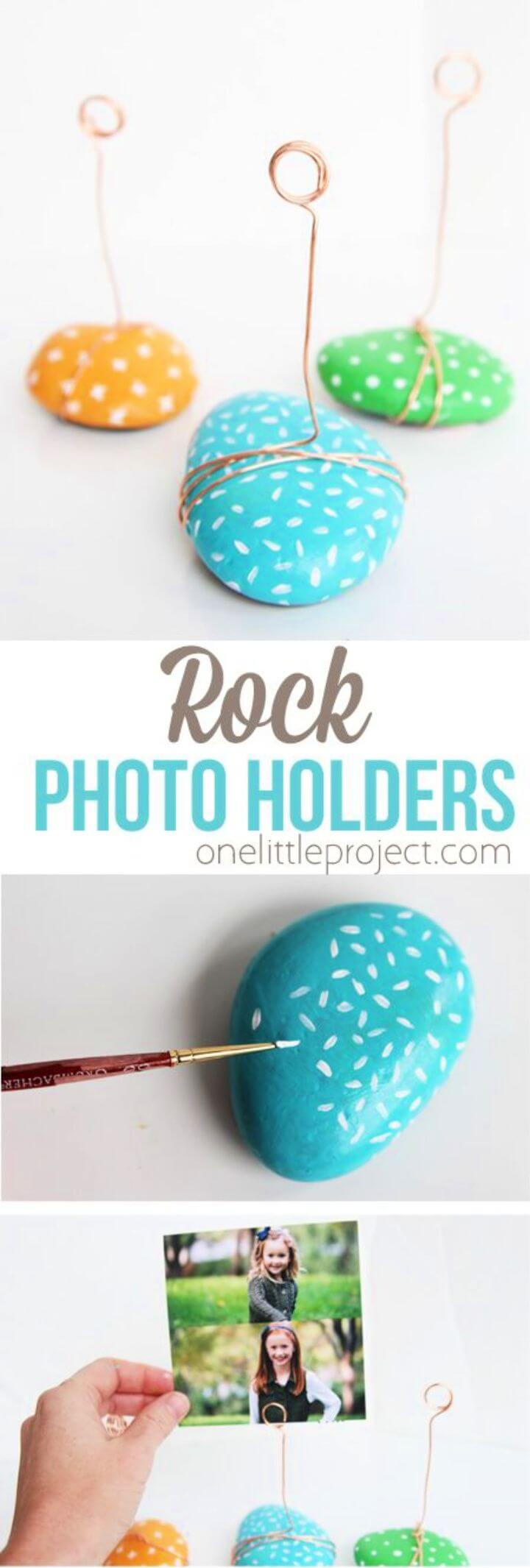 DIY Painted Rock Photo Holders For Summer Activities