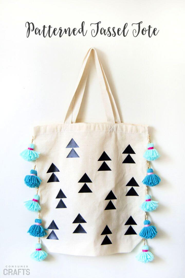 DIY Patterned Tassel Tote Bag