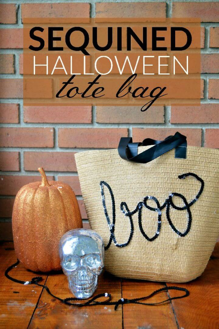 DIY Sequined Halloween Tote Bag