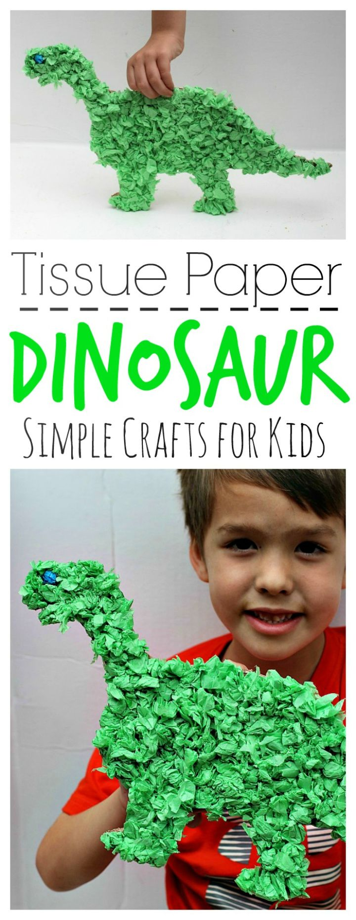 DIY Simple Tissue Paper Dinosaur 1
