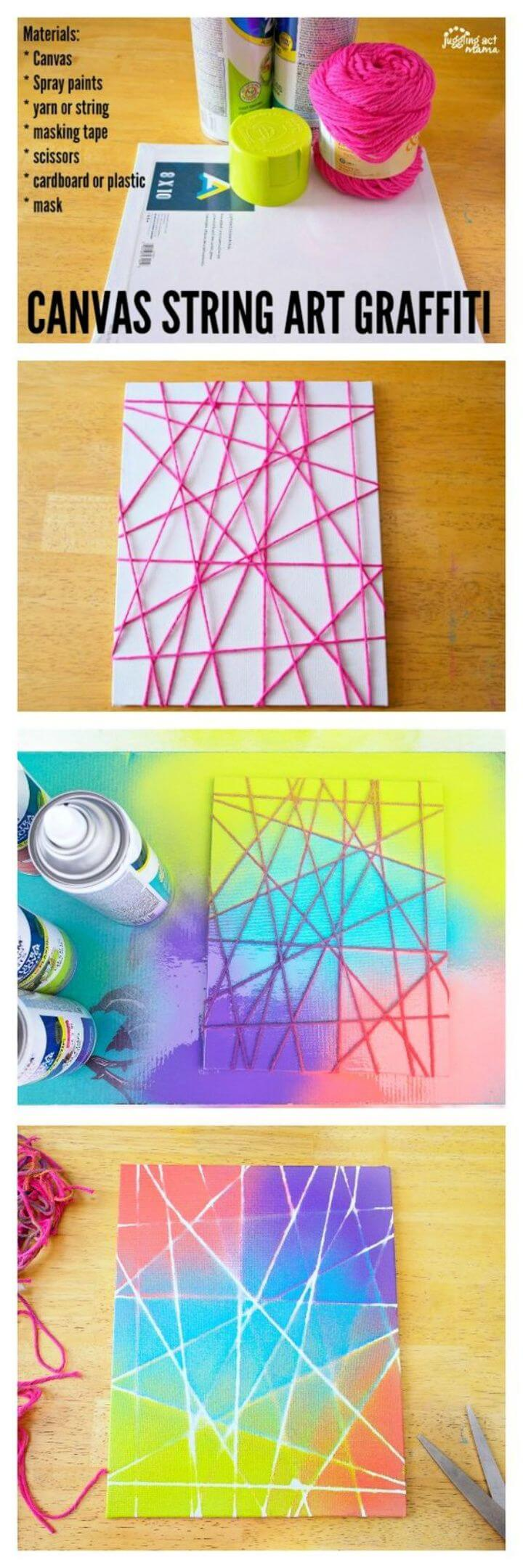 DIY Summer Canvas String Art Graffiti