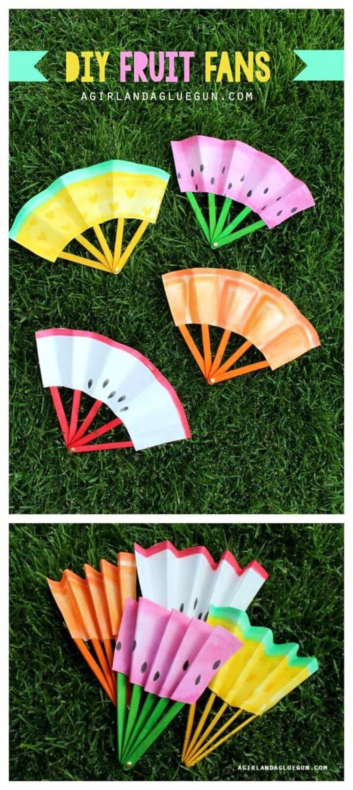 DIY Summer Fruit Fans With Glue Gun