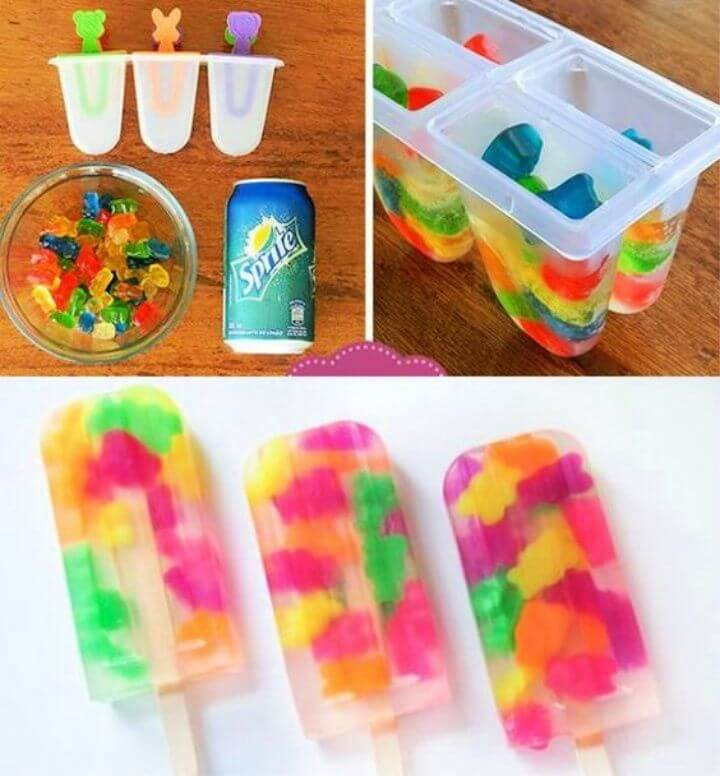 DIY Summer Gummy Bear Popsicles With Sprite