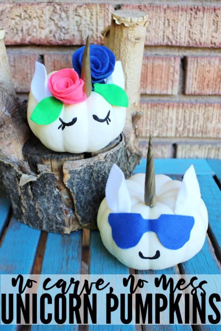 DIY Unicorn Pumpkins with No Carving Mess