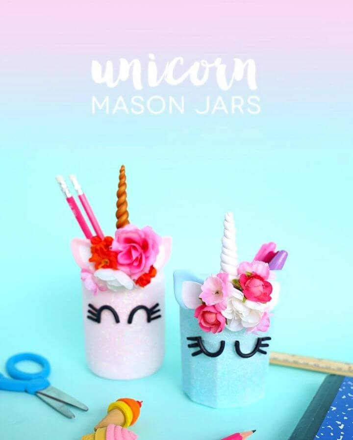 DIY unicorn pencil holders with flower crowns