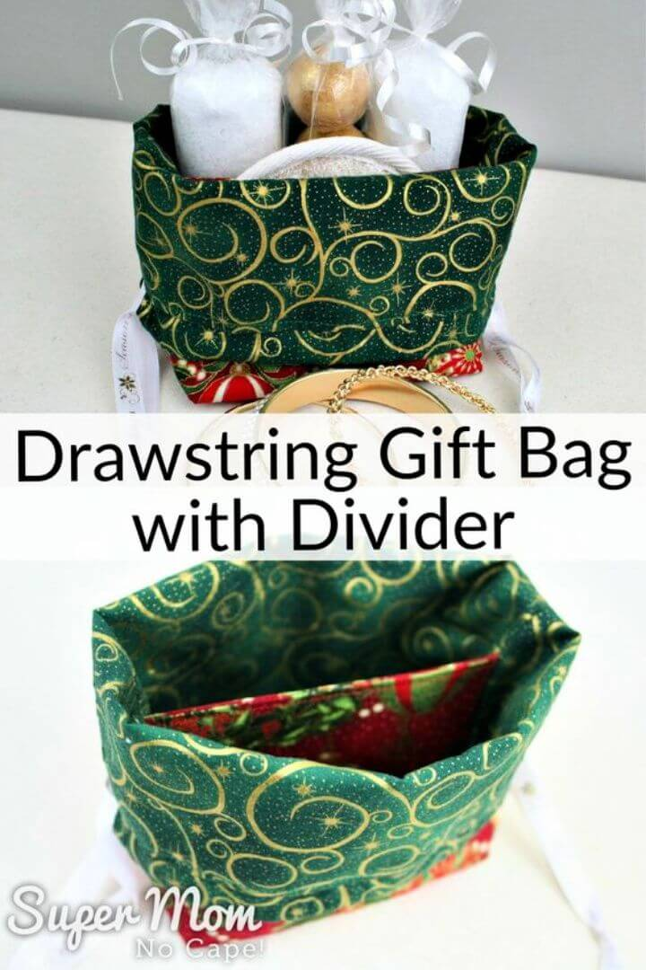 Drawstring Gift Bag with Divider