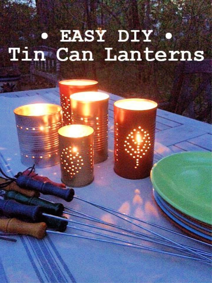 Easy DIY Summer tin can lanterns
