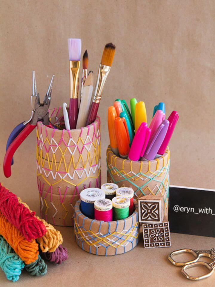 Embroidered Pencil Holder DIY for the Crafty Desk