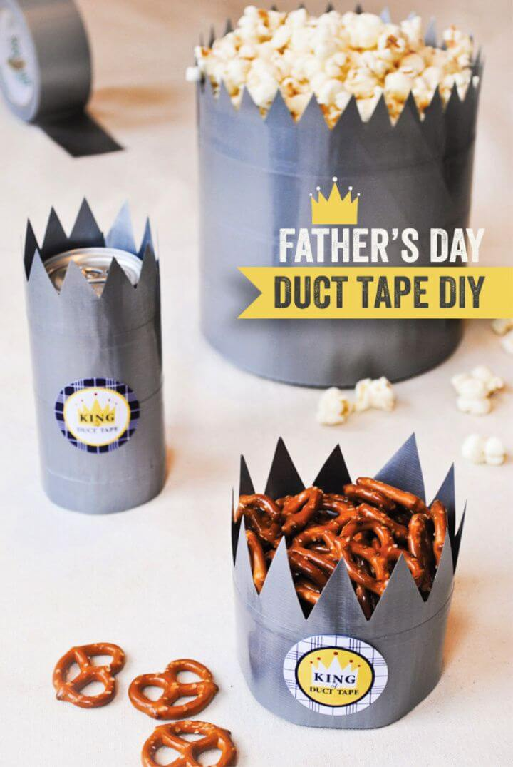 "Father's Day DIY ""King of Duct Tape"" Treat Crowns"