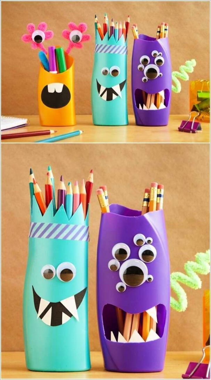 Fun Shampoo Bottle Monster Pencil Holders