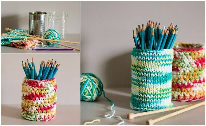 Knit and Crochet Covered Tin Can Holders