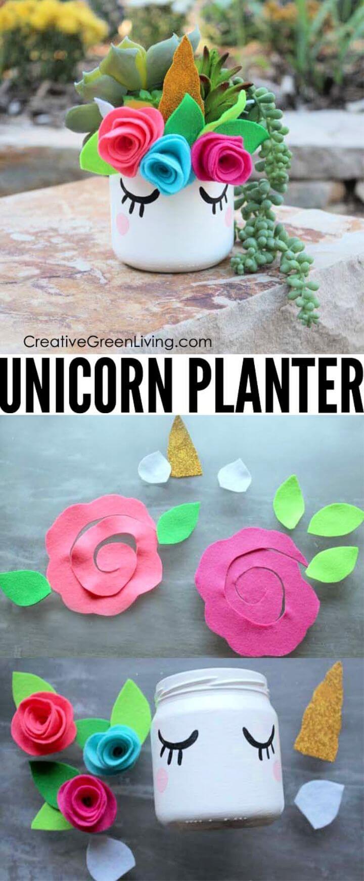 Make a Kawaii Unicorn Mason Jar Succulent Planter