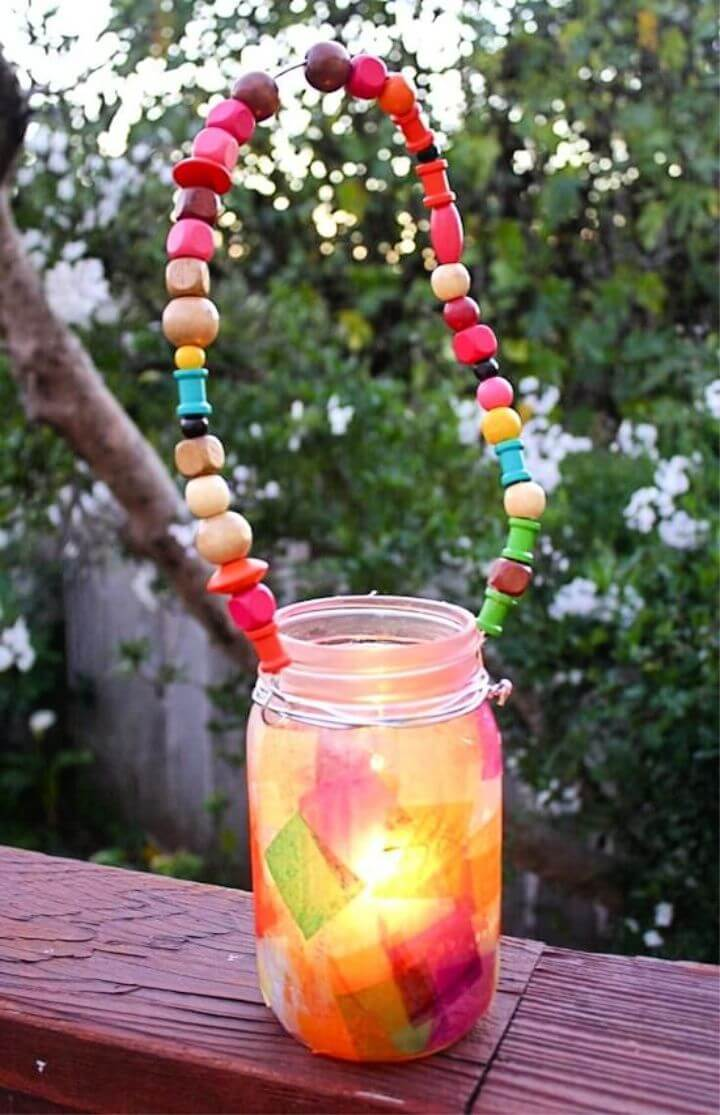 Mason Jar Lantern with Beaded Handle Craft for Kids