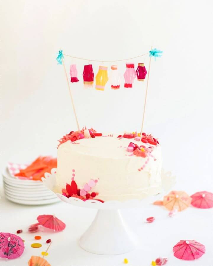 Mini Paper Lanterns Cake Topper DIY