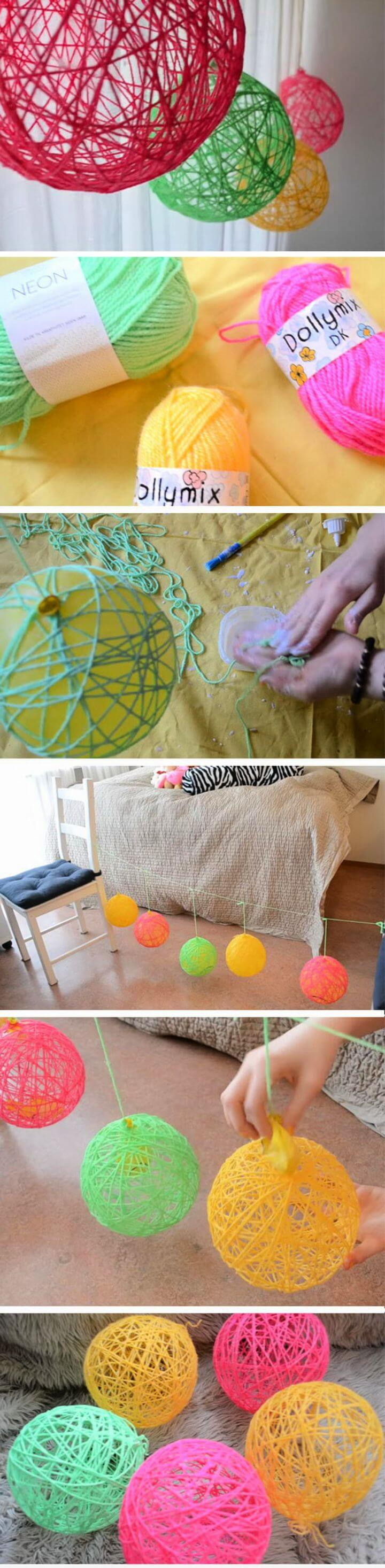 Simple and Easy Yarn Ornaments