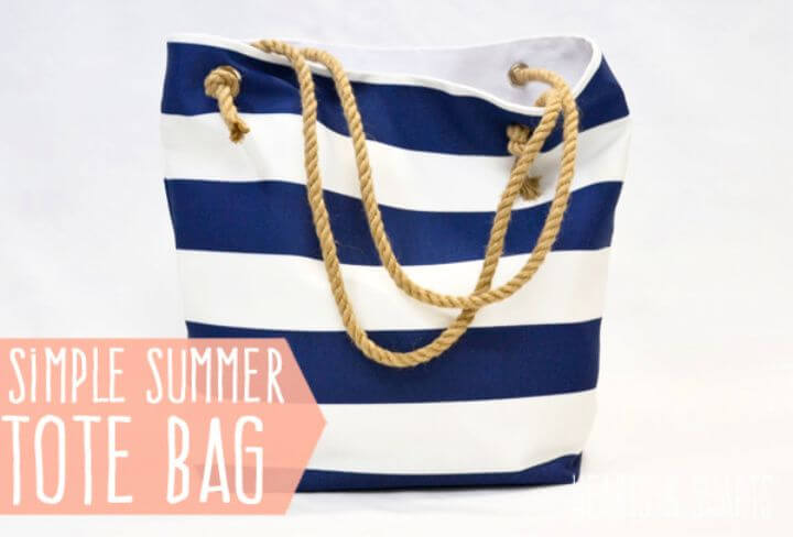 Striped Beach Bag With Rope Handle DIY