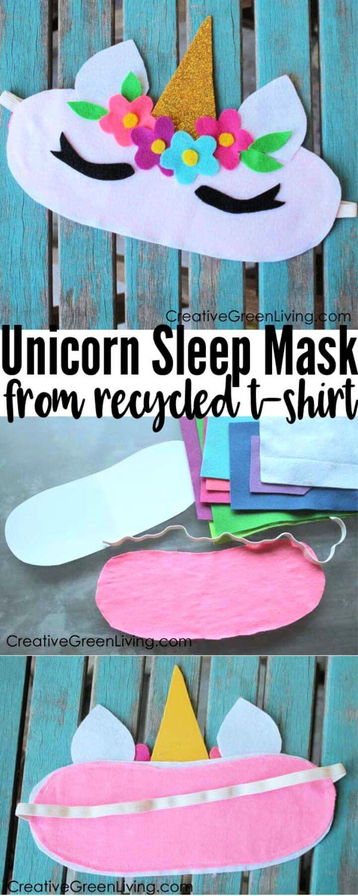 Unicorn Horn Sleep Mask from a Recycled T Shirt