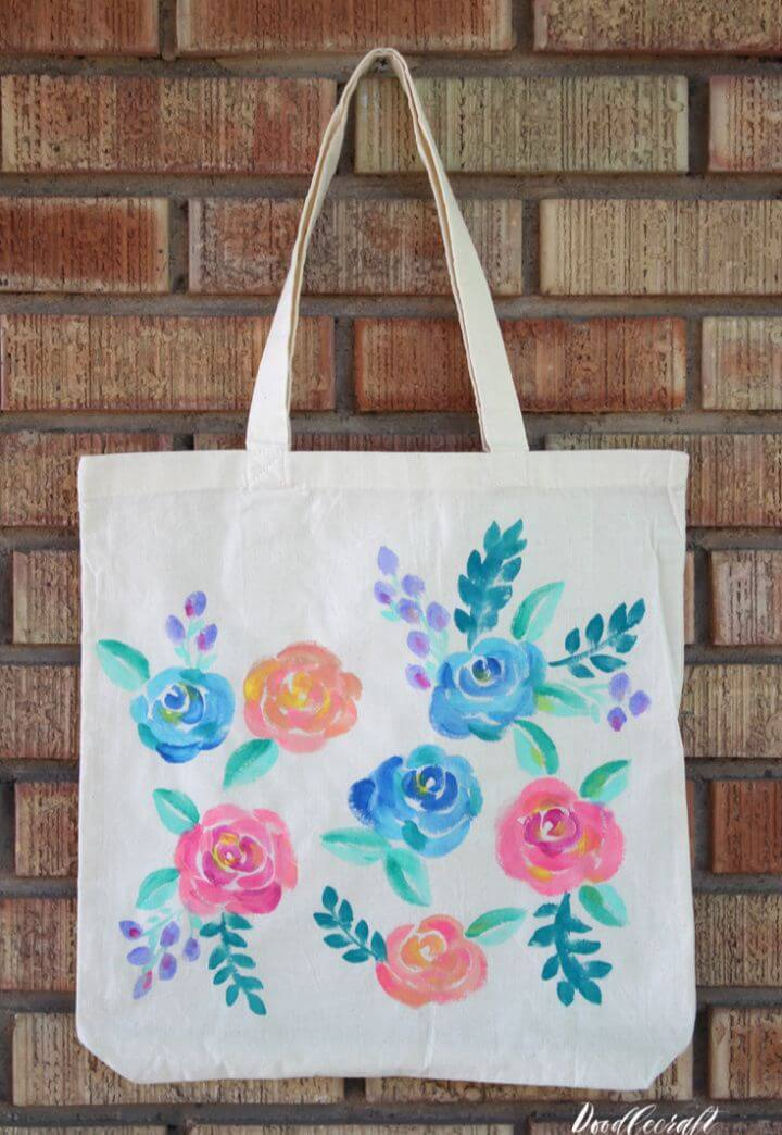 Watercolor Floral Painted Tote Bag DIY