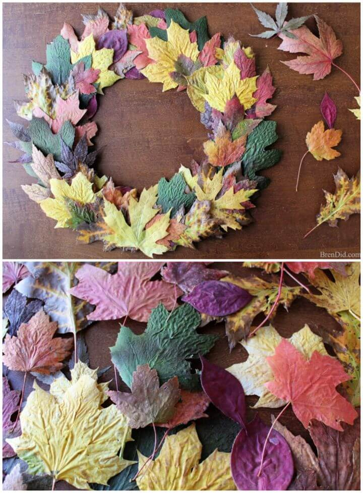 Adorable DIY Fall Leaves Front Door Wreath For 0