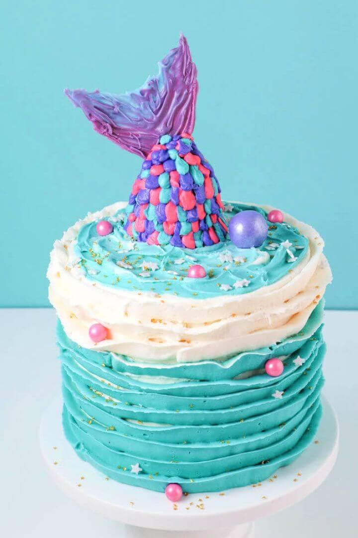 Adorable DIY Mermaid Baby Shower Cake Tutorial