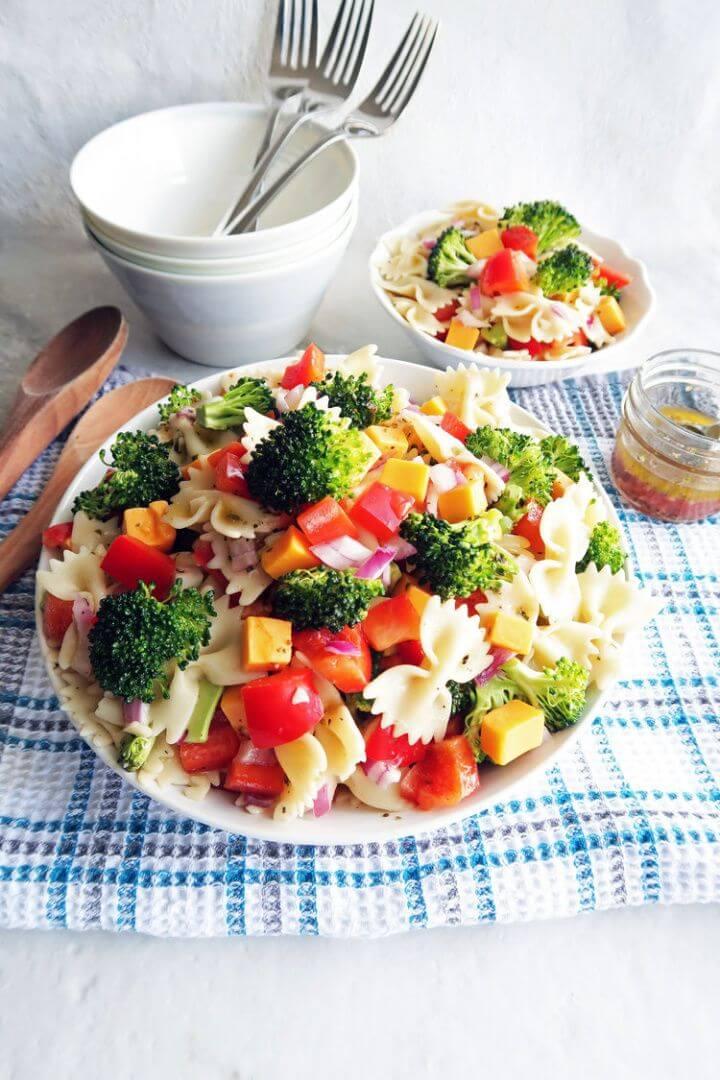 Broccoli Cheddar Pasta Salad With Tangy Italian Vinaigrette