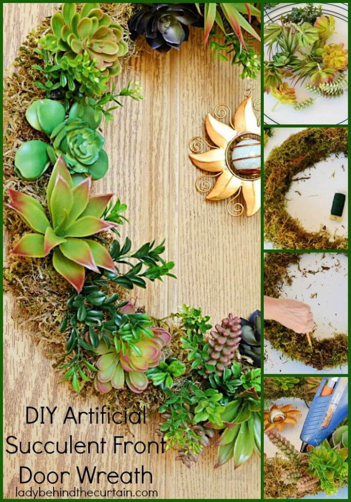 Build A DIY Artificial Succulent Front Door Wreath