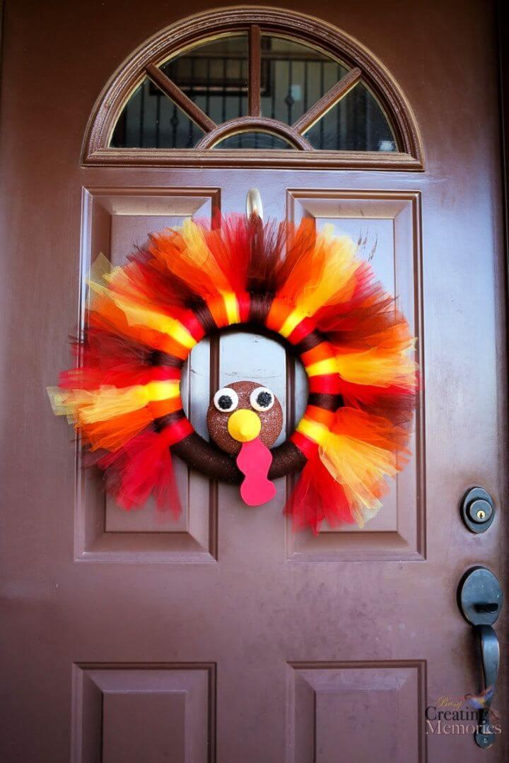 Build Your Own DIY Turkey Tulle Wreath Tutorial