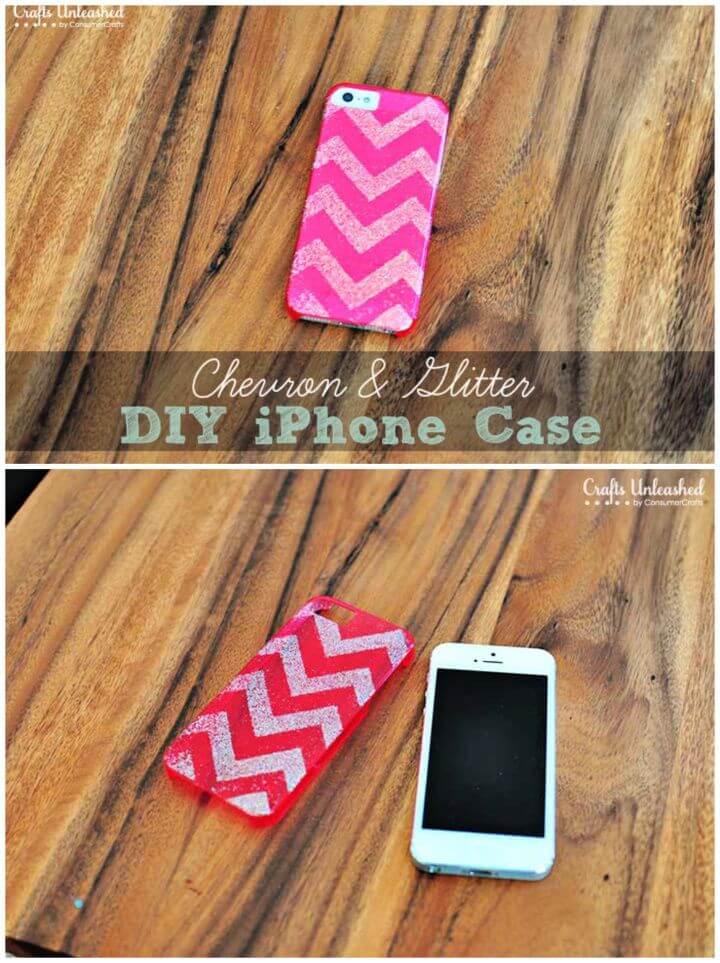Chevron Glitter DIY iPhone Case 1