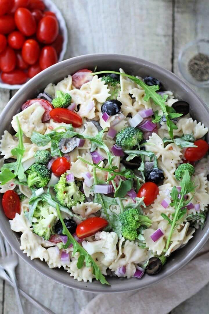 Creamy Summer Arugula Pasta Salad