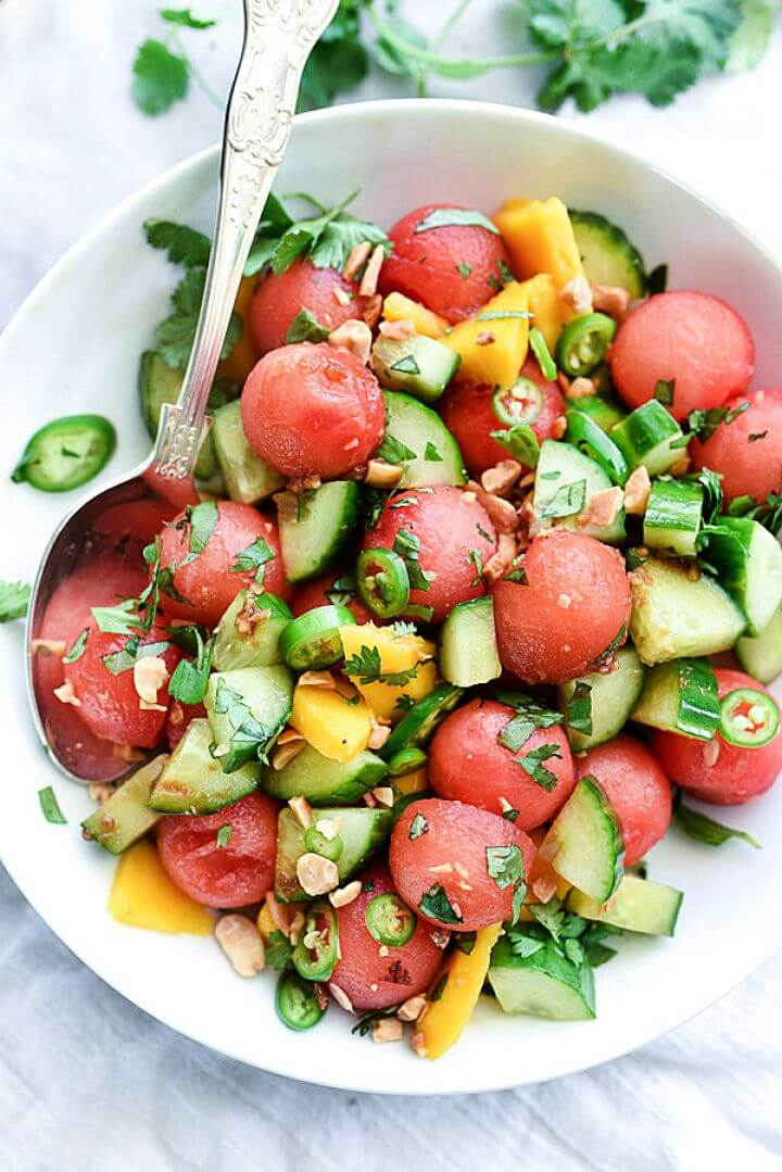 Cucumber Basil And Watermelon Salad With Love Lemons