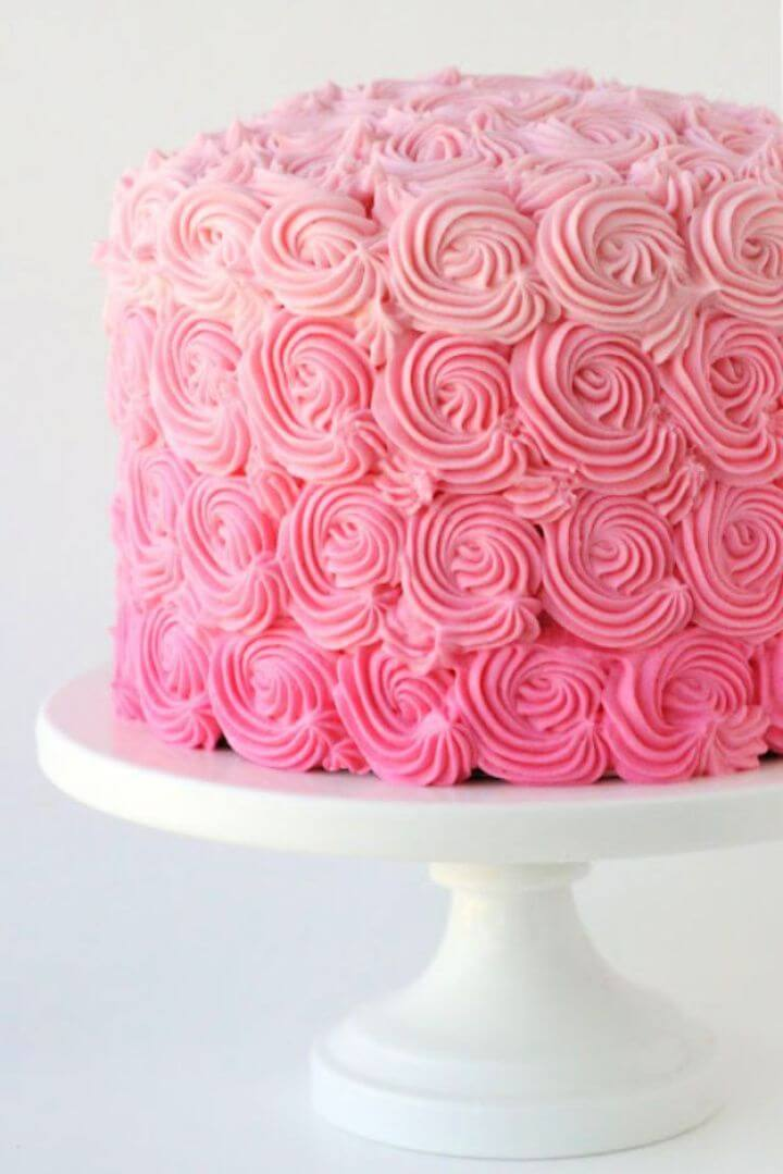 Cute DIY Pink Ombre Swirl Cake