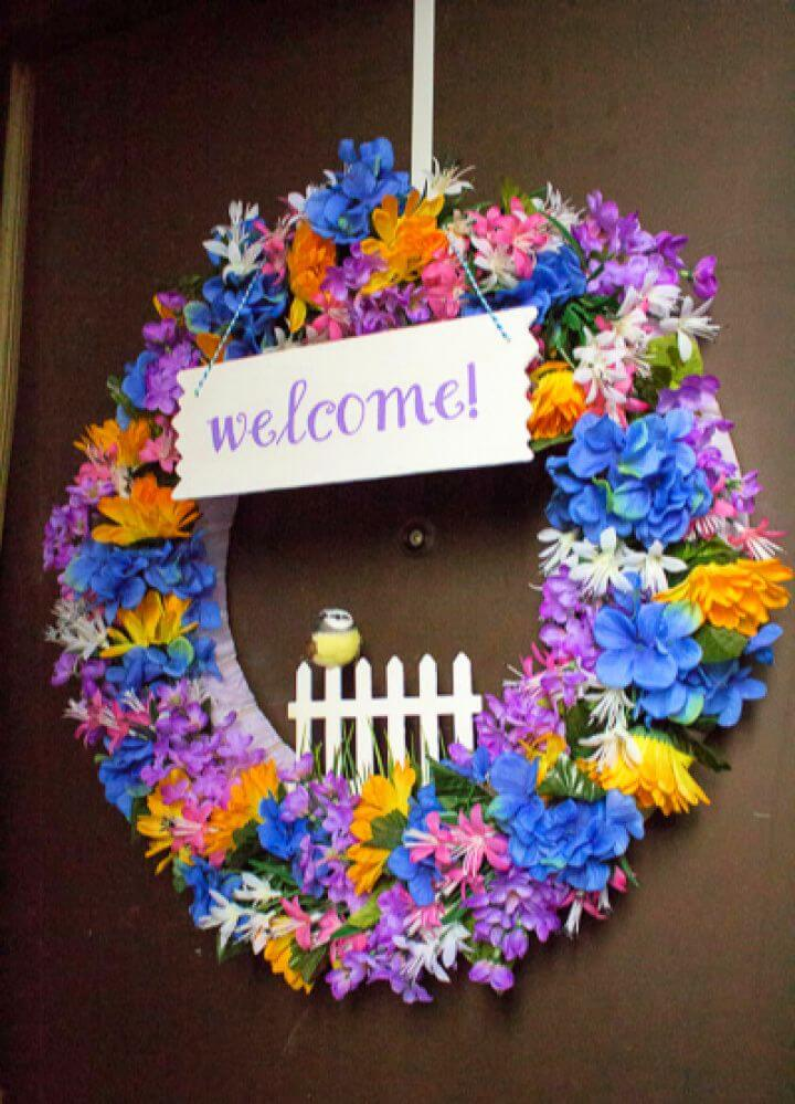 Cute DIY Spring Welcome Wreath