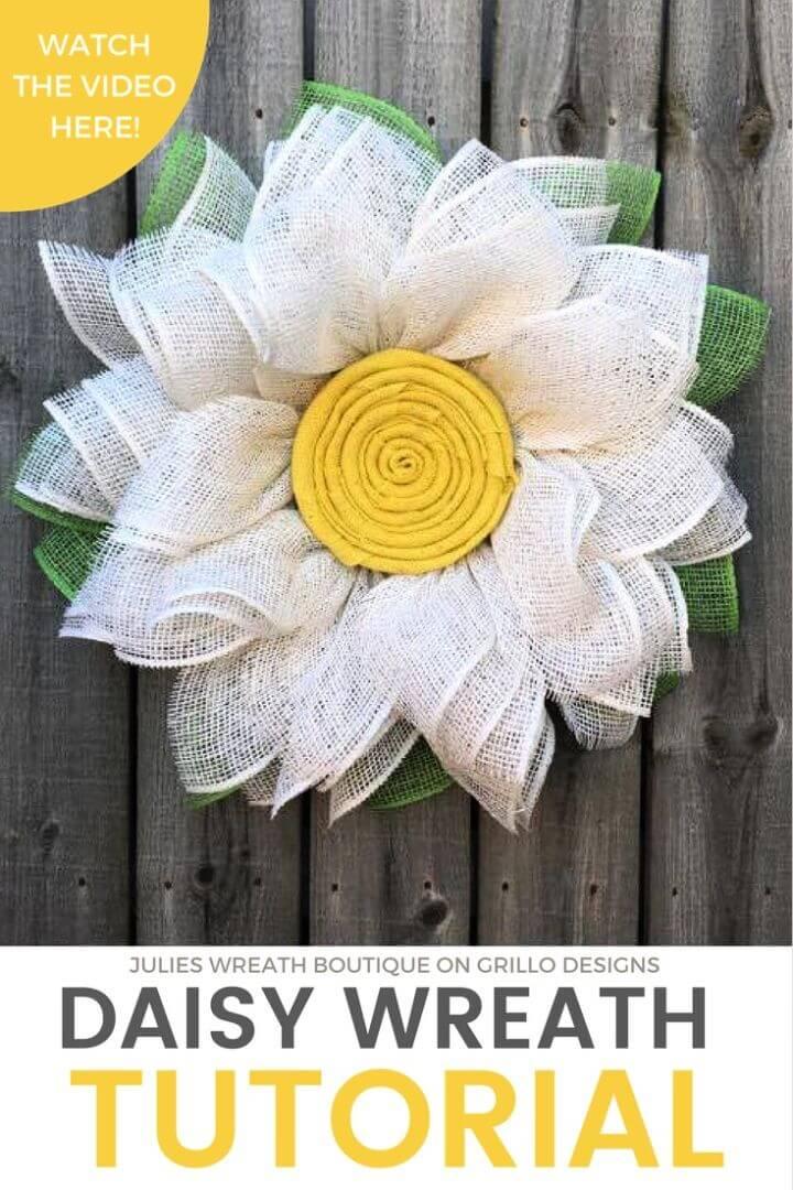 DIY Burlap Daisy Wreath Tutorial