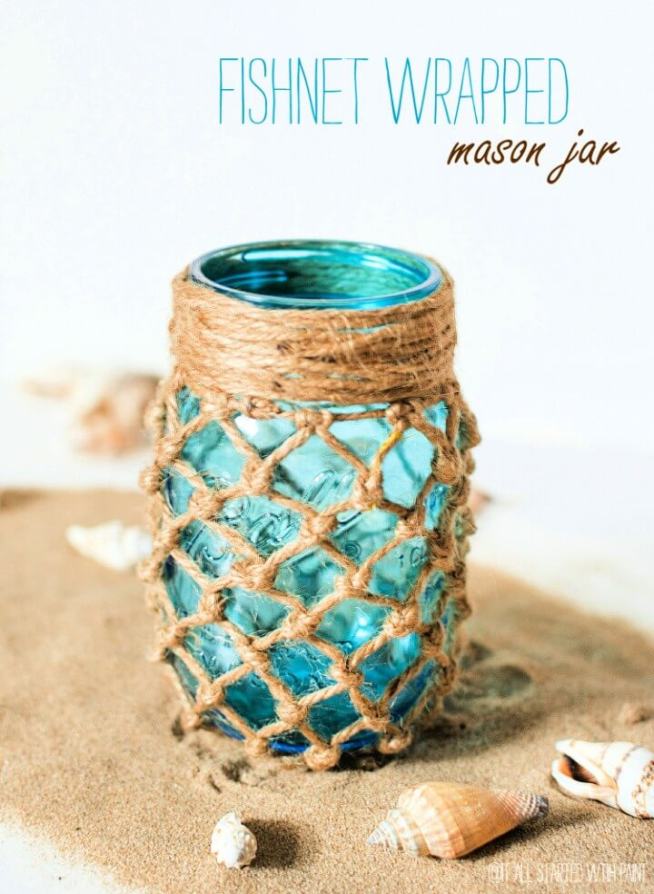 DIY Fishnet Wrapped Mason Jar