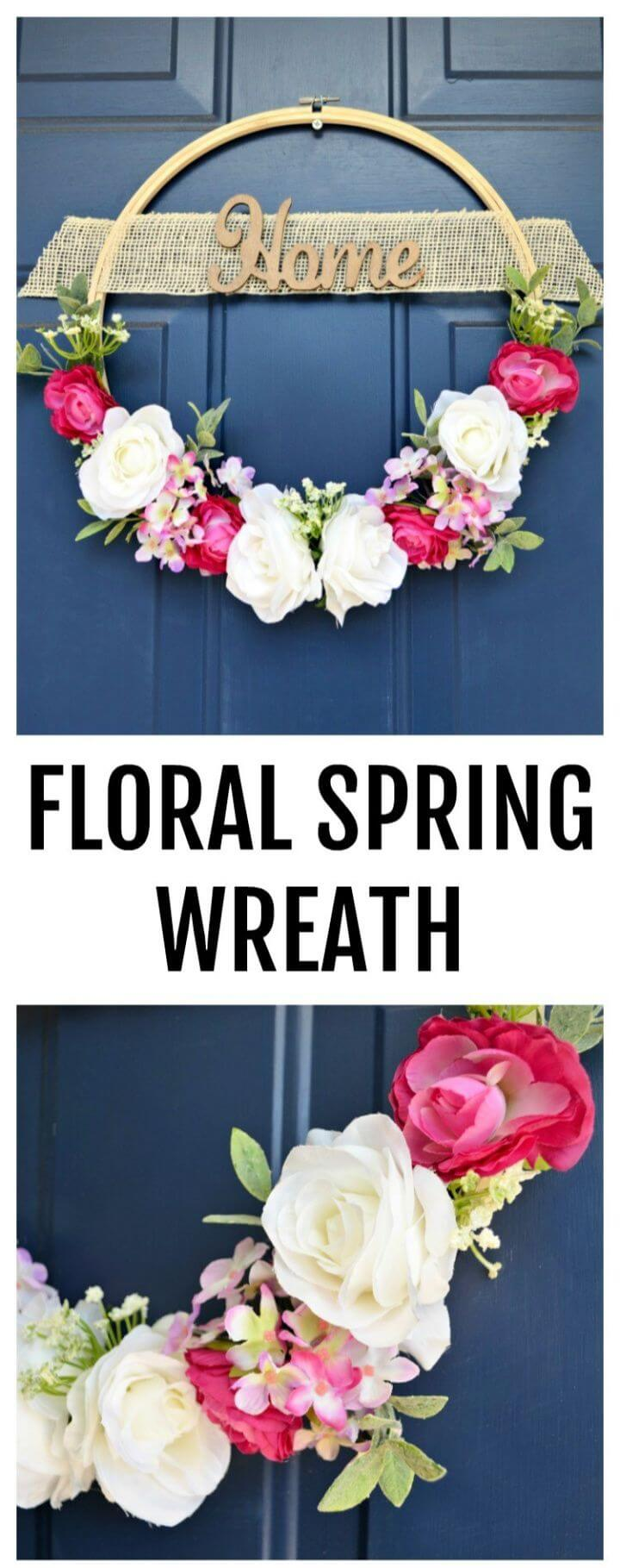 DIY Floral Spring Wreath From An Embroidery Hoop