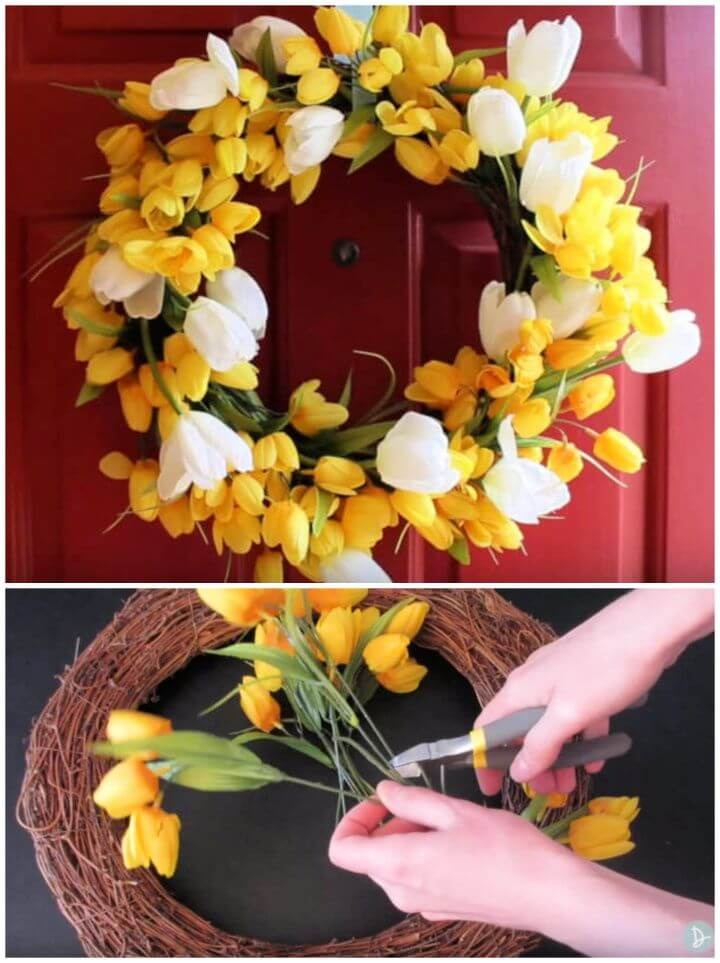 DIY Spring Flower Door Wreath