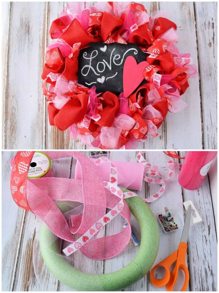 DIY Valentine's Day Mesh Wreath