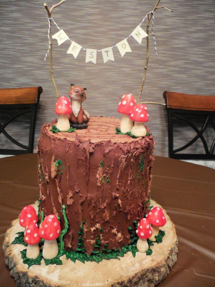 DIY Woodland Themed Baby Shower Cake